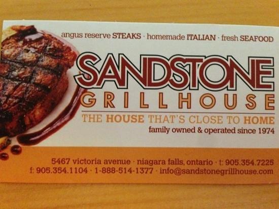 Sandstone Grillhouse: la carte de visite