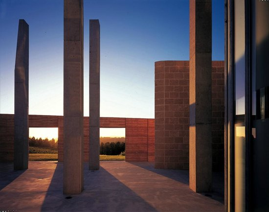 TarraWarra Museum of Art: courtyard at dusk