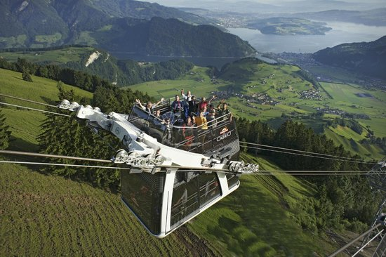 CabriO - Stanserhorn-Bahn: CabriO Lucerne, Switzerland - the world's only cablecar with open sundeck.