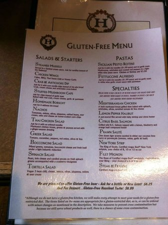The Library Lounge: the Gluten Free menu at Hume Hotel