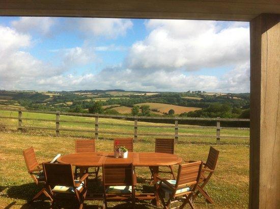 Middle Upcott Farm Bed and Breakfast: Vom Frühstückstisch Richtung Exmoor