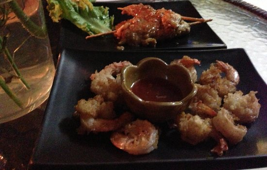 White Orchid: Fried tempura and Chicken satay