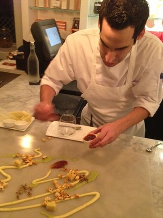 Vers: Pastry chef Stephen Jones assembling our dessert, Truth or Dare