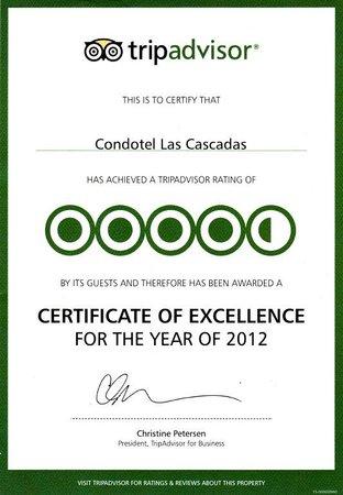 Condotel Las Cascadas: TripAdvisor Certificate 2012