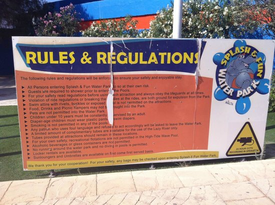 Splash & Fun Water Park: Rules & Regs (if you can read them!)