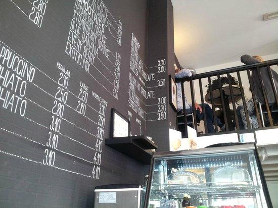 Moods Coffee Corner : Menu on wall