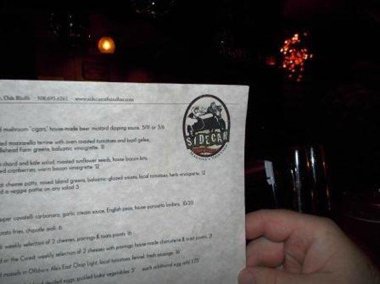 The Sidecar Cafe & Bar: paper menu