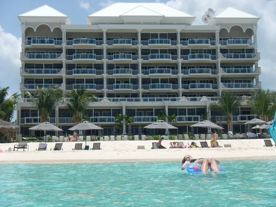 Beachcomber Grand Cayman: taken from the water, unit 17 is on the left corner 3rd floor