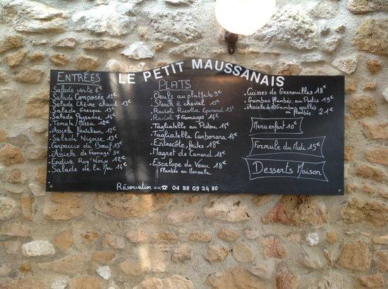 Restaurant le petit Maussanais : Menu board