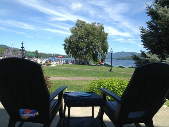 Fort William Henry Hotel and Conference Center: View of the great lawn and Lake George from the Veranda