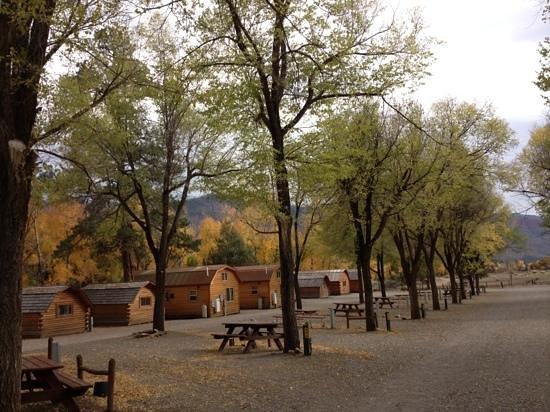 Durango Riverside Resort: back of cabins & RV sites visible