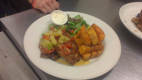 Ben Macduis Inn: Jerk pork steaks, pineapple salsa and sweet potato chips