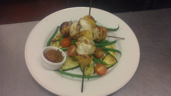Ben Macduis Inn: Monkfish skewers, chargrilled courgette salad and homemade tomato tapenade