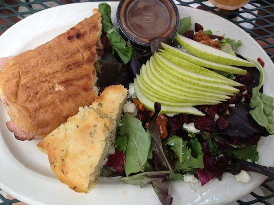 Tomato Pie Cafe: Ham & Brie Panini and Blue & Pear Salad