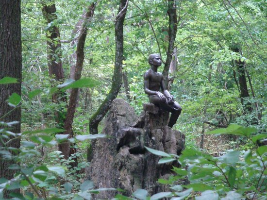 George Washington Carver National Monument: Bronze of young George in his beloved woods