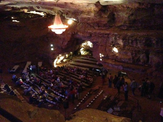 Bluegrass Underground: Very large concert area seen from above before walking down