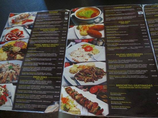 Las Campanas: menu