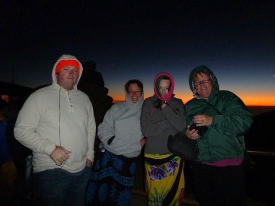 Haleakala Crater: Trying to keep warm in 54 degree weather at Haleakala Sunrise