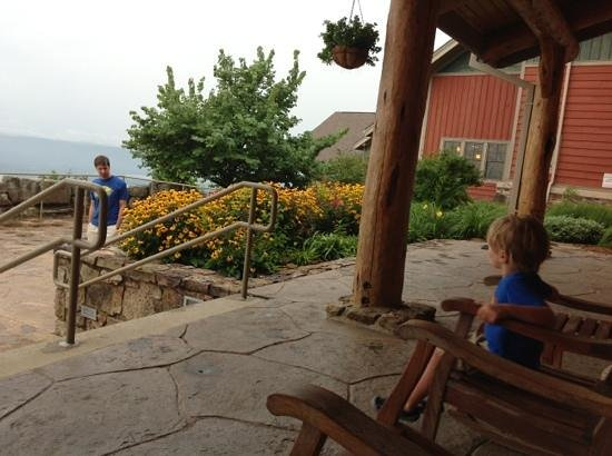 The Lodge at Mount Magazine: the veranda by the childrens garden