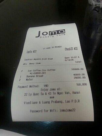 Joma Bakery Cafe : receipt