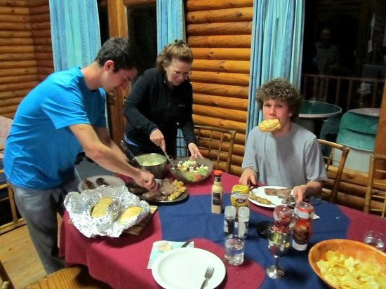 Cape Vidal Camp: Digging into the 'brai' prepared by Dave
