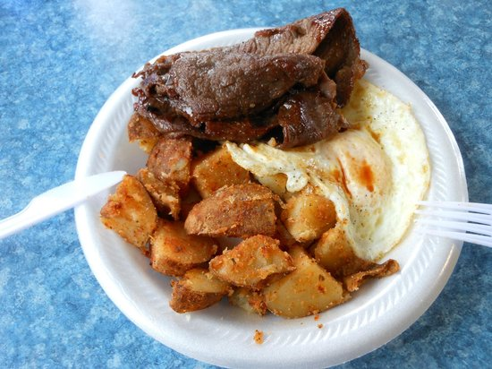 Hukilau Cafe: Teriyaki Beef & Eggs $7.25