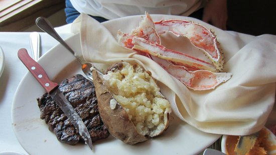 Hoof And Claw Filet And Split King Crab Legs With Baked Potato