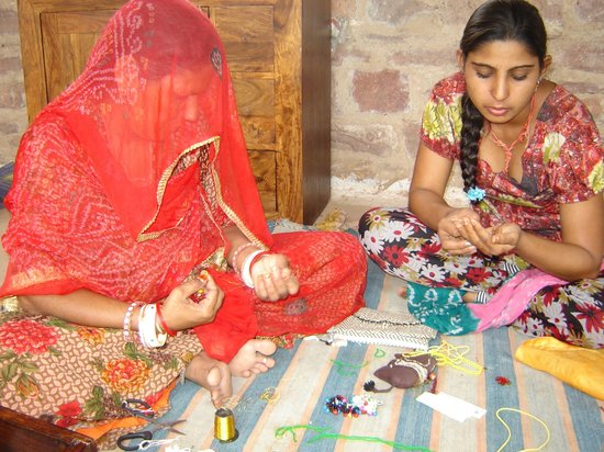 Local villagers working at the Art & Craft Centre - NGO run by Chandelao Garh