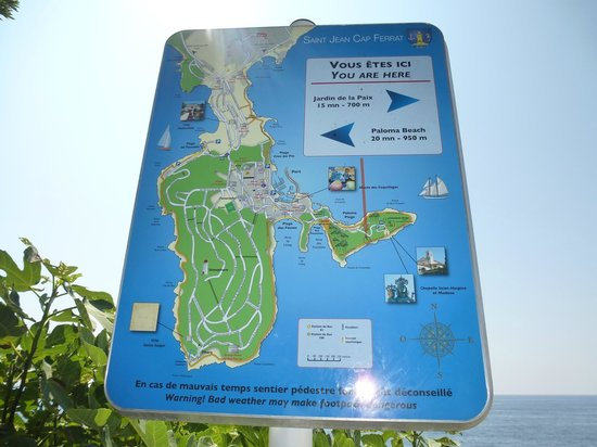 Map of cap Ferrat and Saint Hospice peninsula - Picture of Saint ...