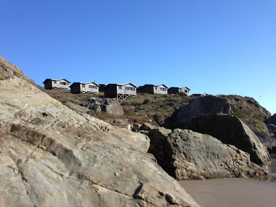 Steep Ravine Cabins: View of cabins from private beach