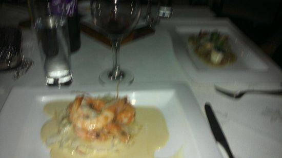 Kwizeen Restaurant : Starters - Crayfish Tails Liguini and Monkfish & Parma ham