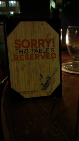 The Chopping Board Kitchen at MOJO: Reserved sign