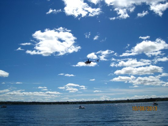 Golden Hawk CF-86 Sabre Jet: Helicopter That Was Taking Video's Of The Cigarette Boat Race