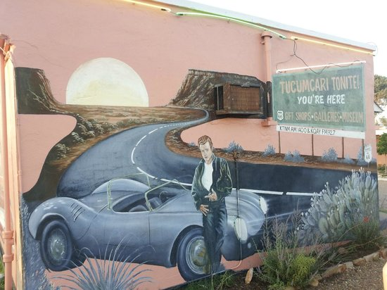 Blue Swallow Motel: A James Dean mural on the back.