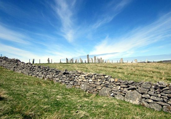 Callanish Standing Stones: first glimpse of stones walking up path