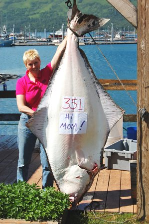 Alaska's Kodiak Island Resort: Lodge Record 351 pound halibut