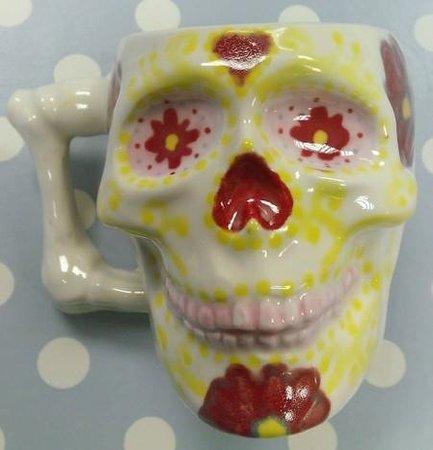 Pot-A-Doodle Doo: flowery skull mug