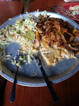 Melt Bar & Grilled: What was left of Melt Challenge after 4 people tried to eat it.