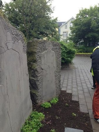 Free Walking Tour Reykjavik: carvings representing religions of Iceland