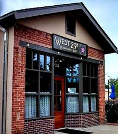 West 29th Restaurant: Front entrance with custom signage