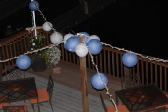 The Irwin Inn: The lakeside deck with our wedding paper lanterns
