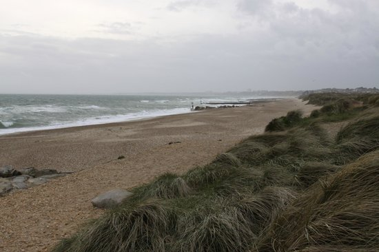 Hengistbury Head: Beach to ourselves on a chilly, windy evening - view toward Bournemouth.