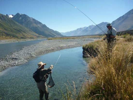 Another perfect fishing day near Twizel - Rainbow trout heaven!
