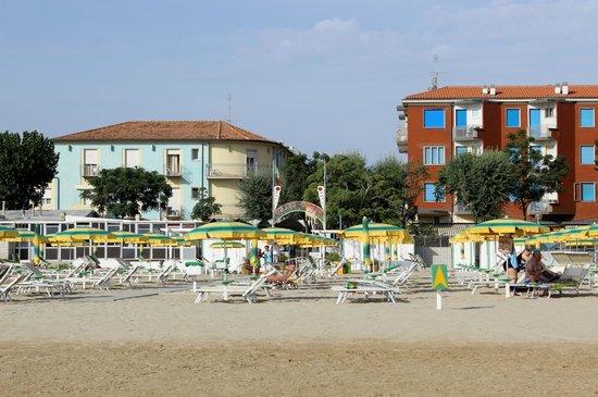 Hotel Acquario: Vista dell'hotel dalla spiaggia.