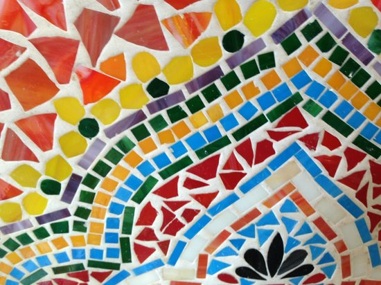 Salsalito Taco Shop : Brightly colored mosaic tabletops