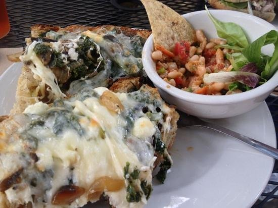 Flat Rock Village Bakery: special sandwich-kale, goat cheese, provolone, onions-delicious!