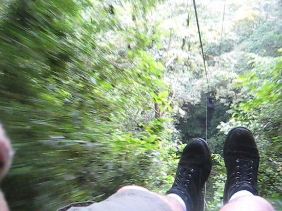 Ziplining through jungle and over a 150 foot waterfall in nearby El Valle (Do it!  It's FUN!)
