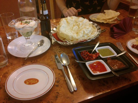 Golden Bengal Tandoori Restaurant & Takeaway : Tasty pickles! We asked for extra raita and got the most delicious cucumber sundae along with th