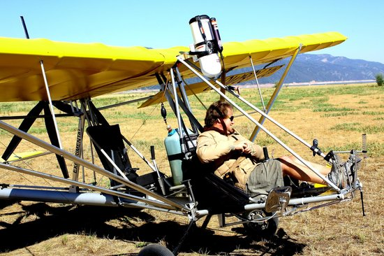 Cowboy Up Hang Gliding : Glider getting prepared to take you up.