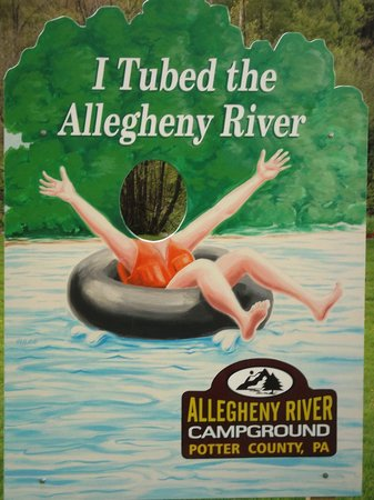 Allegheny River Campground: river tubing sign
